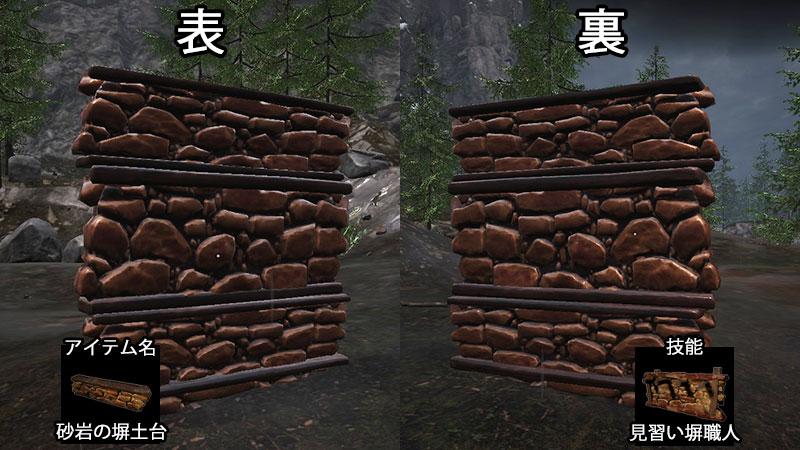 砂岩の塀土台