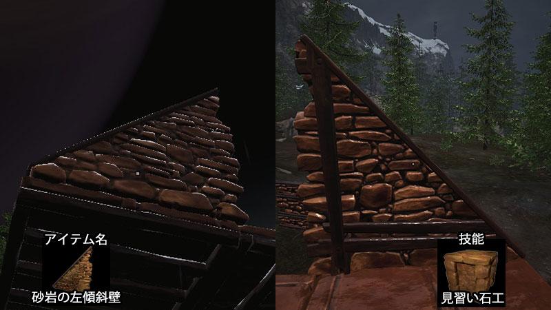 砂岩の左傾斜壁
