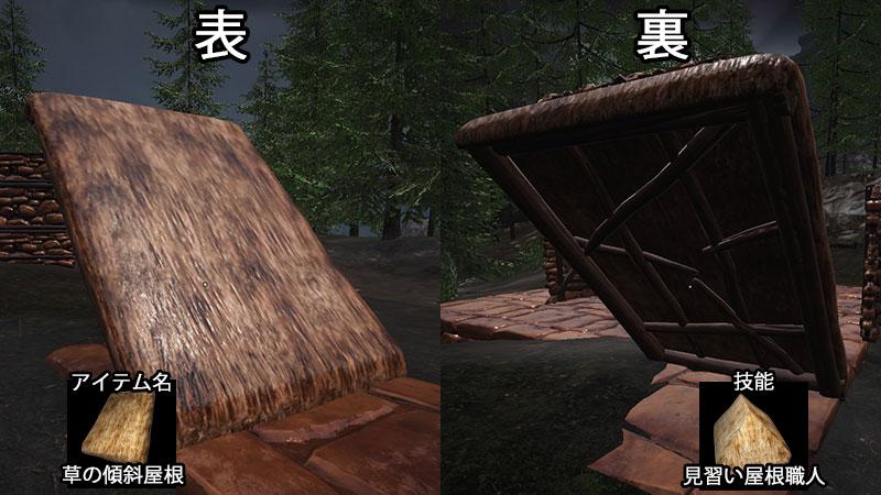 草の傾斜屋根